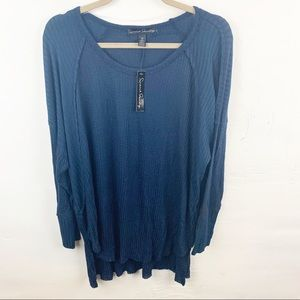 French Laundry Plus Size Blue Waffle Knit Top